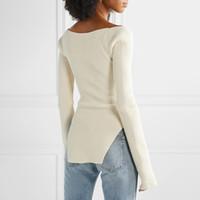 Twotwinstyle lado branco split feito malha camisola feminina coleira de manga comprida camisolas femininas outono moda nova roupa 2021