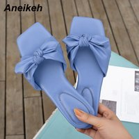 Aneikeh PU Ladies Shoes Slippers Women's Square Heels Slides Fashion Summer 2021 Sweet Shallow Solid Butterfly-Knot Pleated