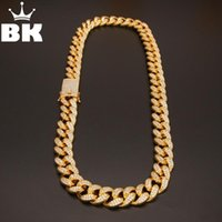 KING 20mm CZ Cuban Chains Gold Prong Miami Chocker Big Lock Cubic Zirconia Necklace Chain