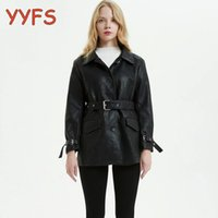 Women's Leather & Faux Jacket Womens Fashion Black PU Jackets Women With Belt Pockets Motorcycle Coats Female Casual Windbreaker Ladies