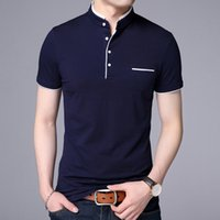 2021 New Fashion Polo Shirt Mens Summer Mandarin Collar Slim Fit Solid Color Button Breathable Polos Casual Men Clothing