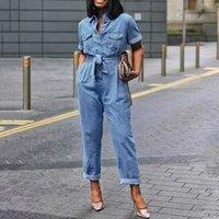 Moda Africana Casual Plus Size 3xl Janal Jumpsuit Mulheres Comprimento Completo Plano Lace-Up Reta Alta Cintura Jumpsuit Bolso Bolso