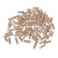 Armazenamento do guarda-roupa de vestuário 100 pcs 3.0 * 0.4cm Mini clipe de madeira natural para PO-clothespin Craft decoração gancho
