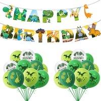 25pcs dinosaurios globos conjunto feliz cumpleaños banner jungle safari niños cumpleaños decoración dino cumpleaños baby shower suministros