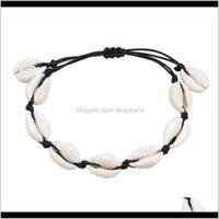 Бисероплетенные, пряди Drop Доставка 2021 Boho Seashell Браслет шарм Femme Shells браслеты ручной вязки мода пляж натуральный бисер