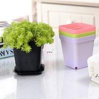Mini-Blumentöpfe mit Chassis bunte Plastiktery Topf Blumen Pflanzer für Gerden Dekoration Home Büro Schreibtisch Pflanzend DWB6059