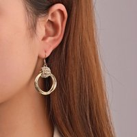 Dangle & Chandelier Vintage Round Drop Earrings For Women Charm Zircon Multi-layer Hollow Gold Color Hoop Earring Circle Wedding Jewelry Who