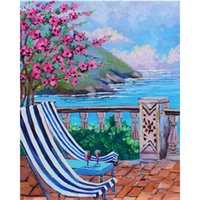Pinturas Pintura al óleo por números Peach Blossom Sofá paisaje enmarcado acrílico moderno pared arte pintado pintado pintado colorear imágenes decoración del hogar