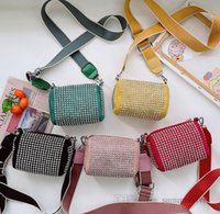 Fashion kids rivet purse children circular bucket messenger bag girls straps single shoulder casual bags Q2328