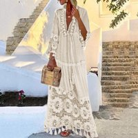 Dresses Casual White Mouwen Jurk Fashion Bohemian Big Size V-neck Effen Color Ee Branch Long es Vestido De Mujer