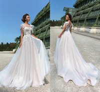 New Country A Line Wedding Dresses Illusion Jewel Neck Lace Appliques Beaded Tulle Bridal Sweep Train