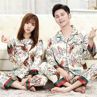 Gelenler Tasarımcı Pijama Çift Uzun Kollu Pijama Seti Ipek Kadınlar Için Uyku Üst Pantolon Pijamas Erkekler