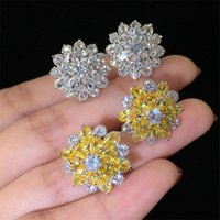 Jewelry 925 Sterling Silver Marquise Cut White Topaz CZ Diamond Women Flower Fashion Stud Earring For Lover's Gift DFF3325