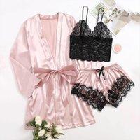Сатин Silk Pajamas Seyts Женская Пижама Ночная одежда Нижнее белье Одели белье Sexy Feminina Nightgown Sleep Tops
