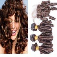 Темно-коричневый тетя Funmi вьющиеся человеческие волосы плетение с кружевным закрытием 4x4 Индийская тетя Funmi # 4 Romance Curls Extensions с кусочками закрытия