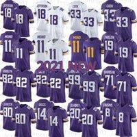 2021 New Minnesota Mens Vikings 여성 아메리칸 축구 유니폼 청소년 11 Kellen Mond 18 Justin Jefferson 33 Dalvin Cook 99 Danielle Hunter 71 Christian Darrisaw