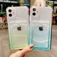 Gradient Transparent Soft Phone Cases For iPhone 12 11 Pro Xs Max TPU Back Cover Xr 7 8 Plus Card Slot Cas