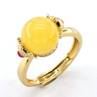 Wasp Wax Ring Natural Gemstones Chicken Oil Yellow Beeswax Hexagons Ruby Round Bead Fashion Trend Vintage Jewelry Women Cluster Rings