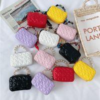 designer filles princesse sacs à main de mode lettre perle bonbons couleurs enfants mini portefeuille enfants soie écharpes chaîne sacs à bandoulière F530