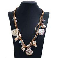 Bohemian yaz plaj kolye doğal deniz kabukları inci charm zincir kolye boho el yapımı trendy deniz kabuğu takı