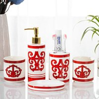 5 PCS 욕실 액세서리 세트 세척 도구 칫솔 치약 홀더 액체 비누 디스펜서 상자 펌프 병 워시