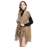 Damskie płaszcze 2021 Spadek Loose-Fringed Knit Sweter wielofunkcyjny Szalik Cardigan Thin Jacquard Cape Coat