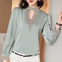 Men's Casual Shirts Korean Silk Women Blouses Long Sleeve Woman Satin V Neck Blouse Tops Plus Size Embroidery Hollow Out