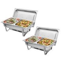 9L * 2 Estufa de buffet Doble rejilla cada una con el marco plegable rectangular rectangular de acero inoxidable.