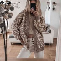 Spring Autumn Oversized Sweater Leopard Cardigan Casual Loose Female Knitted V-neck Jumper Fall Women Clothing 210918