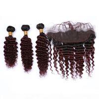 Vino rosso ombre onda profonda riccia capelli umani tessuti con chiusura frontale 13x4 # 1b 99j Borgogna Ombre 3bundles Capelli indiani con pizzo frontale