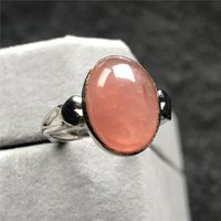 Cluster Rings 13x10mm Genuine Natural Red Rhodochrosite Ring Jewelry For Woman Lady Argentina Crystal Beads Silver Stone Adjustable
