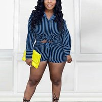 Women's Tracksuits Women Elegant Two Piece Set Striped Suits Long Sleeve Button Up Shirt & Bodycon Shorts Casual
