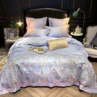 Algodão Sateen Stitch Duveta Cobertura Premium Bordado Rainha King Size Cama Set Soft Cama Folha Travesseiro Shams Sets
