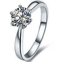 2CT Solitaire Prongs Rings 약혼 스털링 실버 여성을위한 시뮬레이션 된 다이아몬드 반지 18K 화이트 골드 도금 미국에서 빠른 선박
