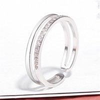 Trouwringen 925 Sliver Bridal Sets Geometrische Verstelbare Ring Pave Cubic Zirkoon Damesvinger Vrouwelijke Dames Eenvoudige Luxe Sieraden GMNR252