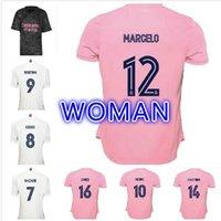 2021 뉴 레알 마드리드 홈 멀리 여자 집 # 7 위험 축구 유니폼 2019 마드리드 Asensio ISCO Kroos Marcelo 소녀 축구 셔츠 유니폼