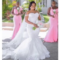 African Mermaid Wedding Dresses Off the Shoulder Bridal Gowns Custom Made Plus Size Tiered Skirts Pearls Crystals Welcomed Female Dress