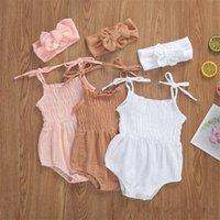 2021 Summer Solid Newborn Baby Girls Cotton Linen Bodysuits Sleeveless Strap Jumpsuits+Headband 2Pcs Outfits Beachwear 2079 Z2