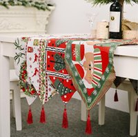 Table Cloth Runner Christmas New Year Party Decorations Tablecloth Xmas Tree Elk Plaid Printed Dinner Table Cover