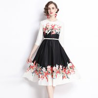 100% Polyester Women's Autumn Dress Turn-down Collar Long Sleeve Print Vestidos with Sashes Sliming Dresses