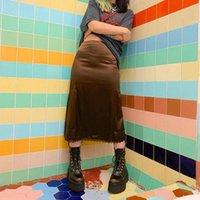 Юбки DewaDbow Midi Fashion Женщины Высокое Качество Шелковый Сатин Leoaprd / Сплошная Кружевная Отделка Сексуальная Клубная одежда Талия BodyCon A-Line Юбка