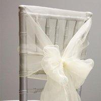 10pcs 65 x 275cm Sheer Orer organza Chaise Hoods Gauze Bow Sashes Casquettes de tulle de mariage pour la décoration de fête d'événement El
