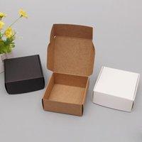 Pequena caixa de papel kraft caixa marrom handmade caixas de sabão branco CRAF presente de embalagem de jóias pretas GWB6155