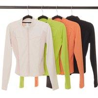 Yoga Jacket Running Fitness Coat Thumb Hole Gym Clothes Women Zipper Shirt Solid Color Tops