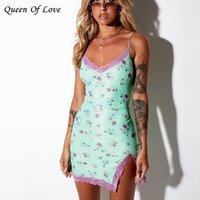 Mujer floral estampado flaco sin tirantes sexy mini vestido verano club ropa encaje encima de split sin mangas hembra outfit vestidos 210420