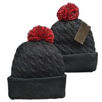 New Beanies Sport Pom Knit Hat Black White Red Knit Hat Pom Pom Cap Mix And Match All Caps