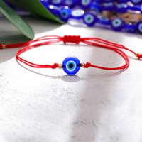Turkish Evil Blue Eye Bracelets For Women Handmade Braided Rope Lucky Jewelry Red Bracelet Female