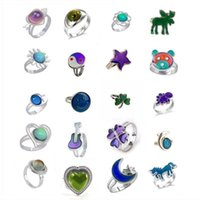 cheapest mood ring star moon butterfly blue eyes adjustable ring large oval change color ring