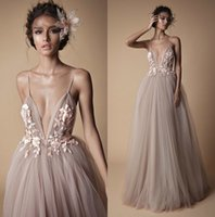 Berta Illusion Backless Wedding Dresses Spaghetti Neckline Lace Appliques Bridal Gowns Sweep Train A Line Beach Wedding Dress