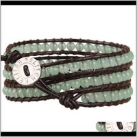 Tennis Jewelrykelitch Leather Strand Green Beads Wrap Bracelets For Women Chains Trendy Jewelry Pulsera Decorations Girls Drop Delivery 2021